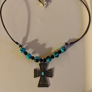 Jewelry - Teal and Brass Cross